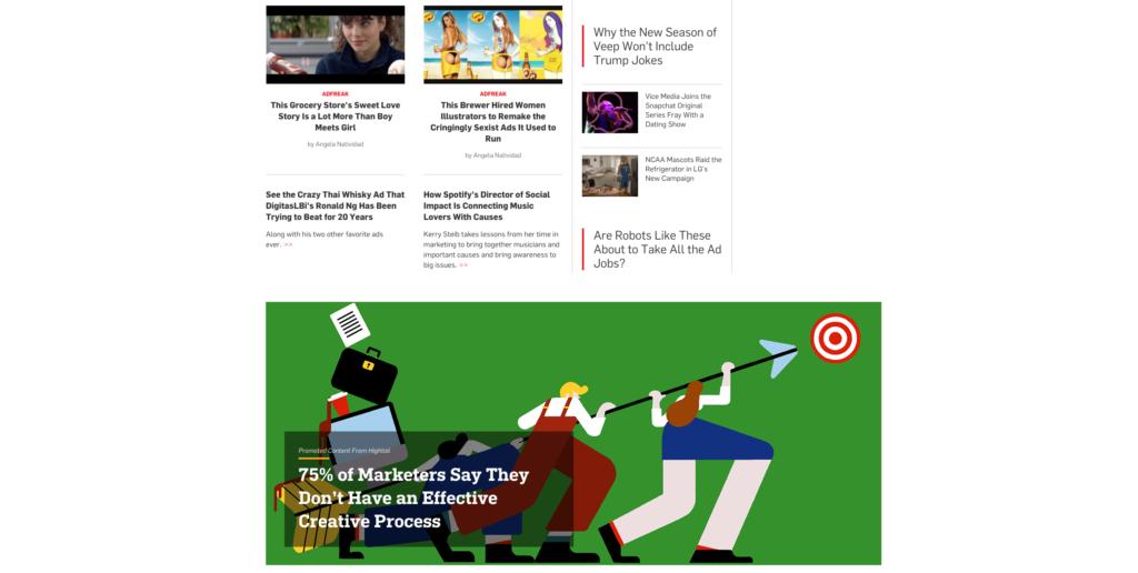 la homepage di Adweek con i contenuti sponsorizzati